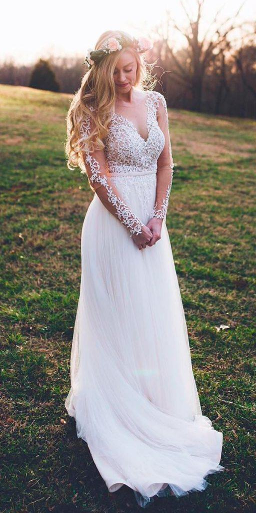 western wedding dresses straight v neckline rustic with long sleeves lace stella york