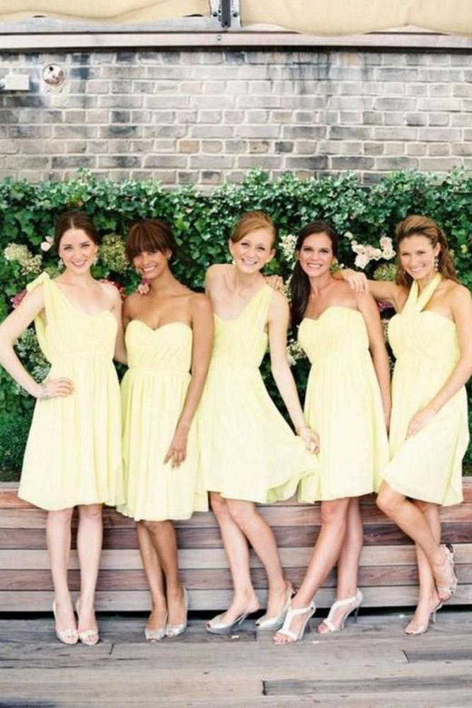 yellow bridesmaid dresses one shoulder sweetheart short waporlima fashion