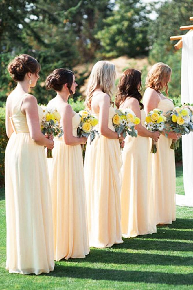 yellow bridesmaid dresses pale long blue rose photography