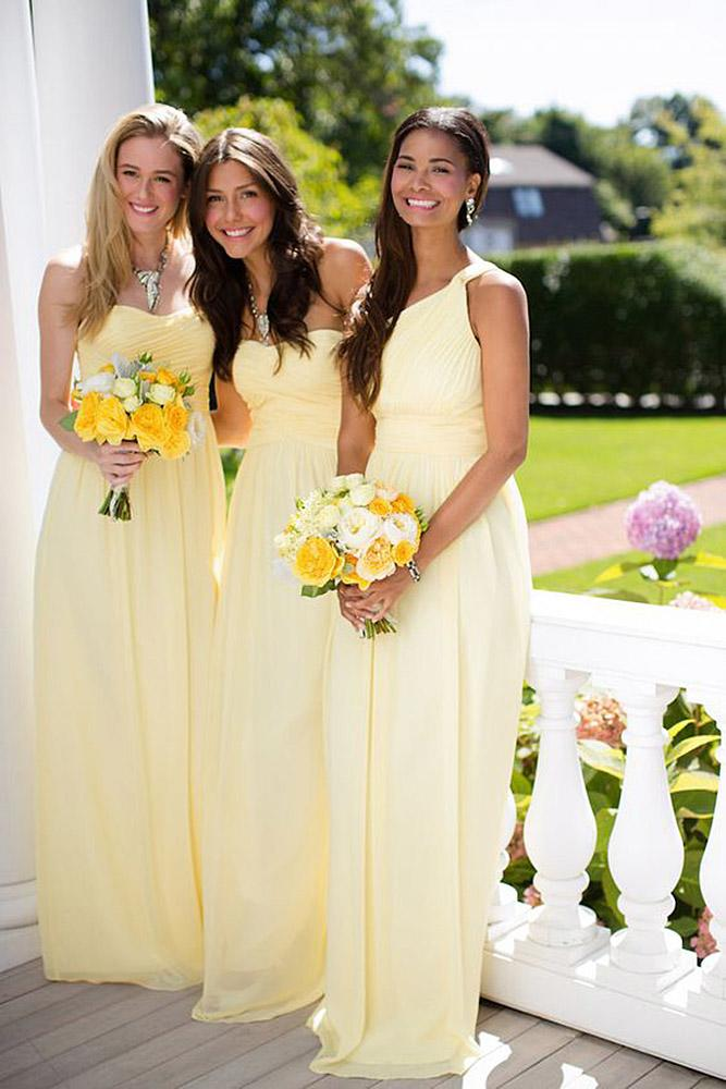 yellow bridesmaid dresses sweetheart one shoulder pale long donna morgan