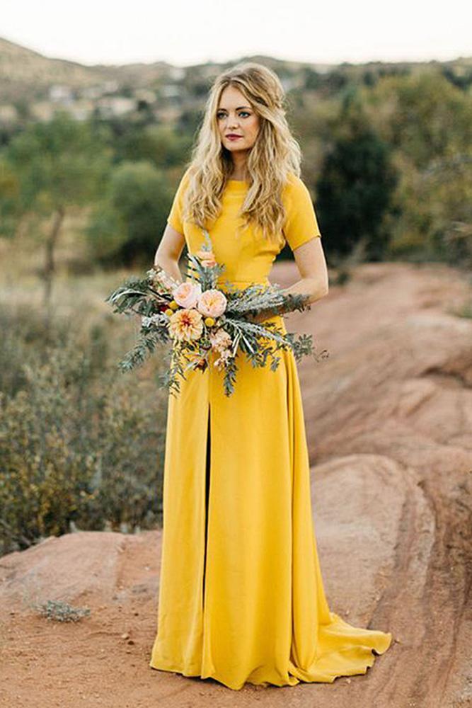 yellow bridesmaid dresses with sleeves mustard levi tijerina
