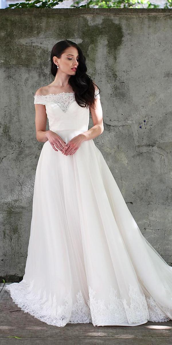 a-line wedding dresses off the shoulder neckline lace kelly faetanini