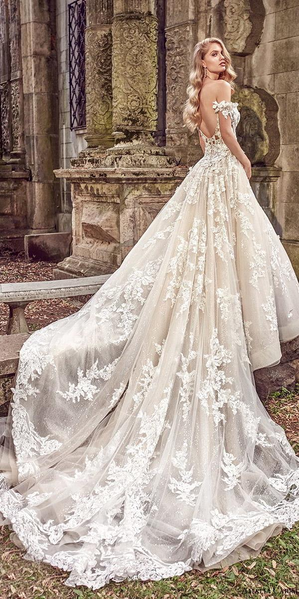 a line wedding dresses off the shoulder with 3d floral amalia carrara