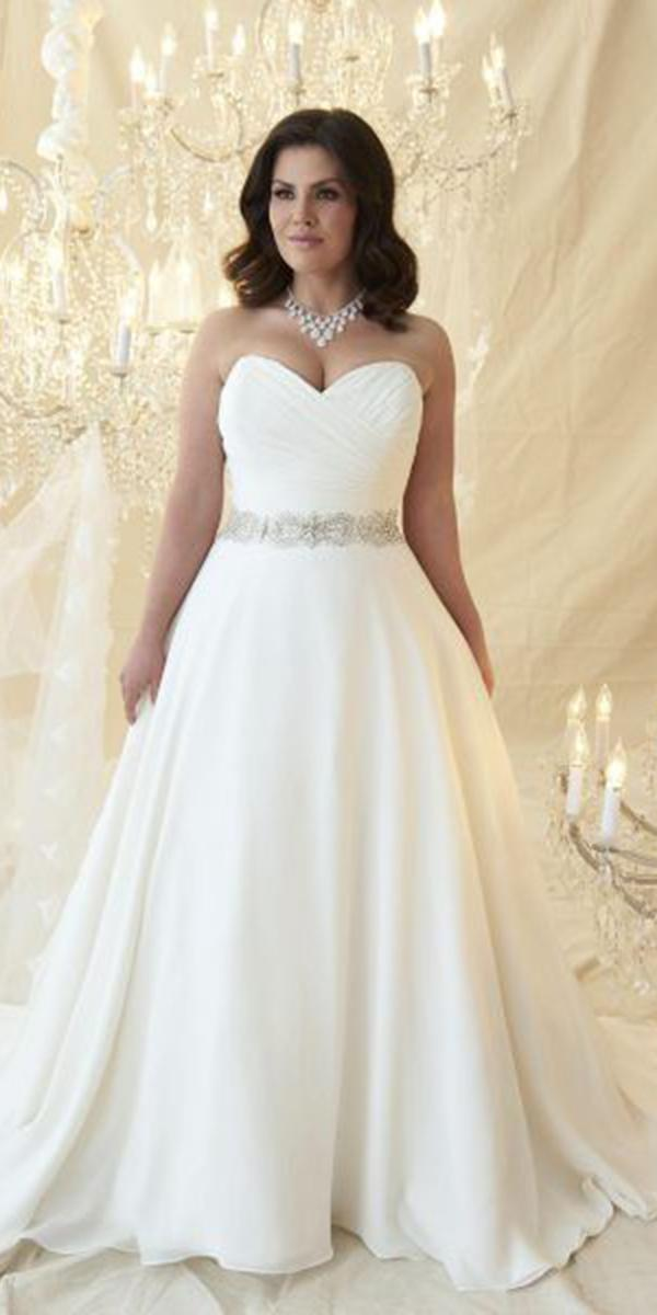 a line wedding dresses sweetheart beaded belt for plus size callista