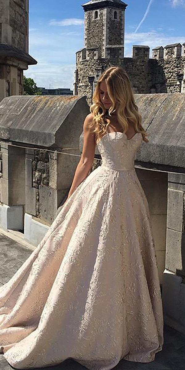 a line wedding dresses sweetheart champagne with train suzannene ville