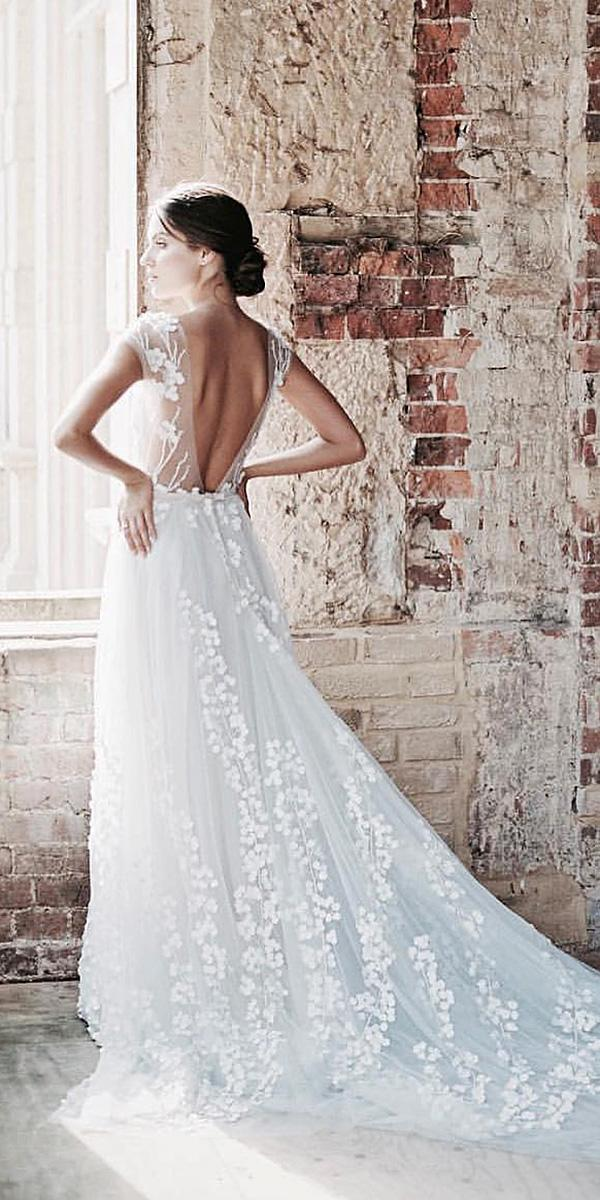 a line wedding dresses v back floral embellishment mira zwillinger