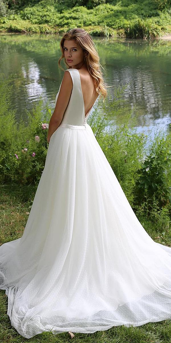 a-line wedding dresses v back simple sleeveless marie laporte creatrice