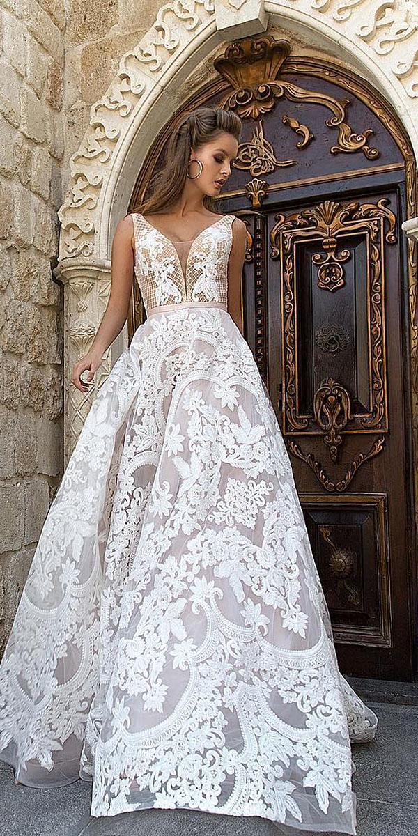 a line wedding dresses v neckline full lace sleeveless eva lender