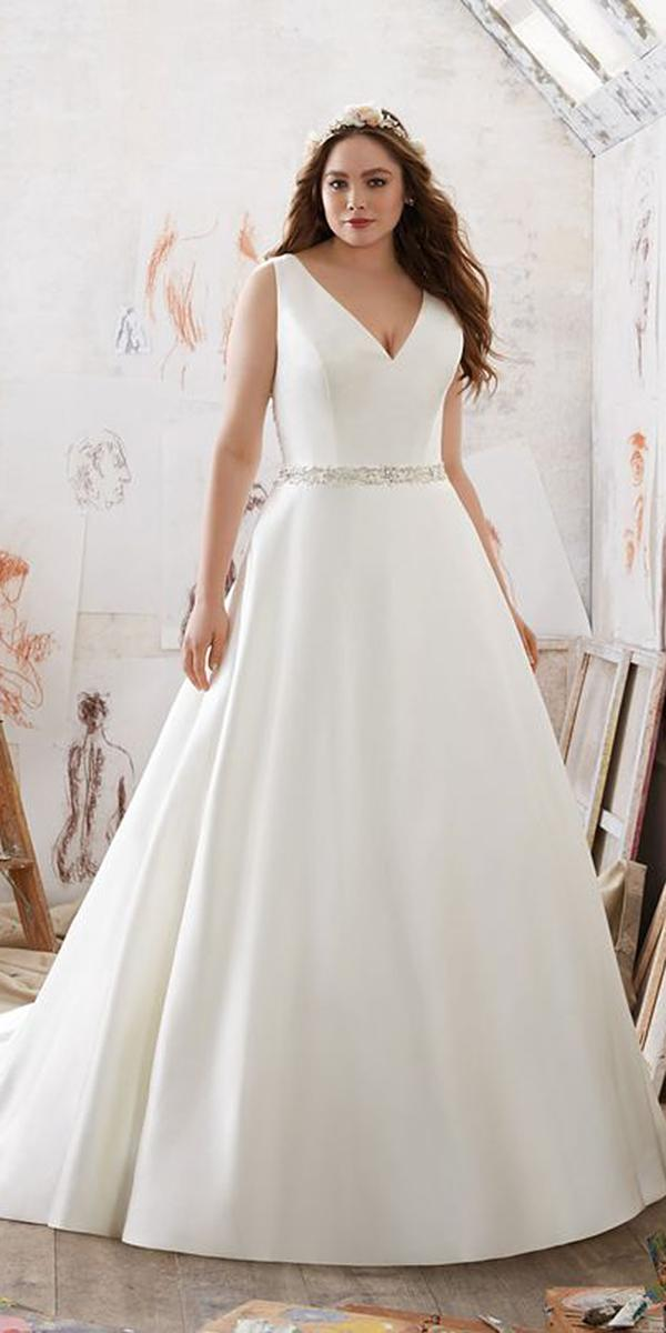 a line wedding dresses v neckline simple for plus size mori lee