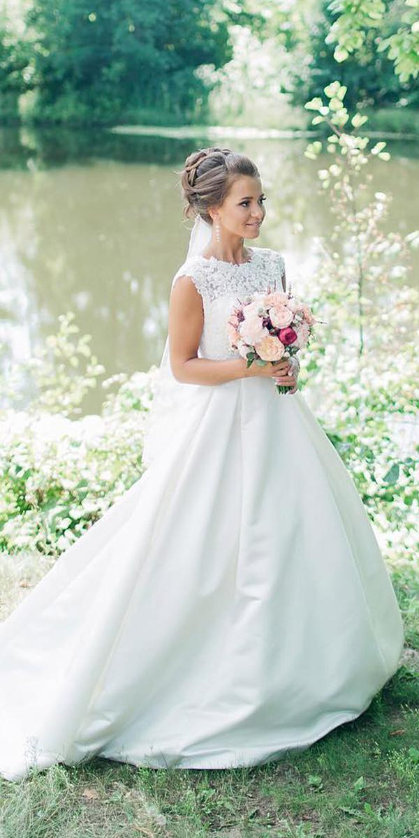 a line wedding dresses with cap sleeves sweetheart simple lanovia penza