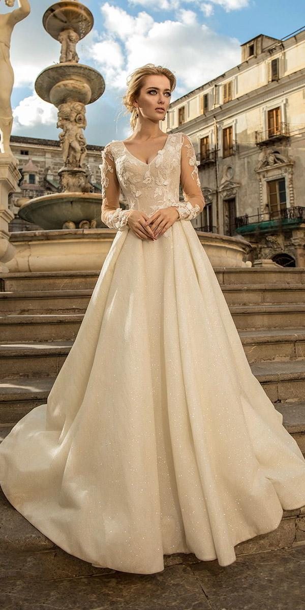 a line wedding dresses with long illusion sleeves v neckline champagne louise sposa