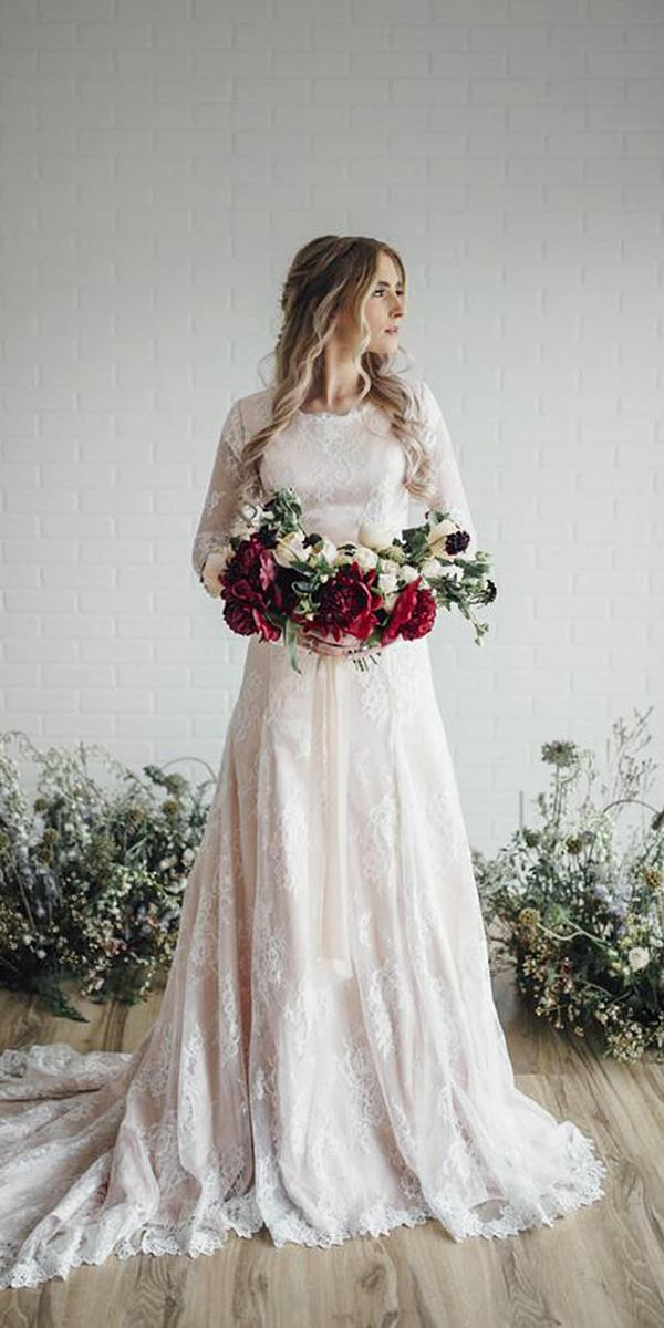 a line wedding dresses with long sleeves full lace blush eizabeth cooper
