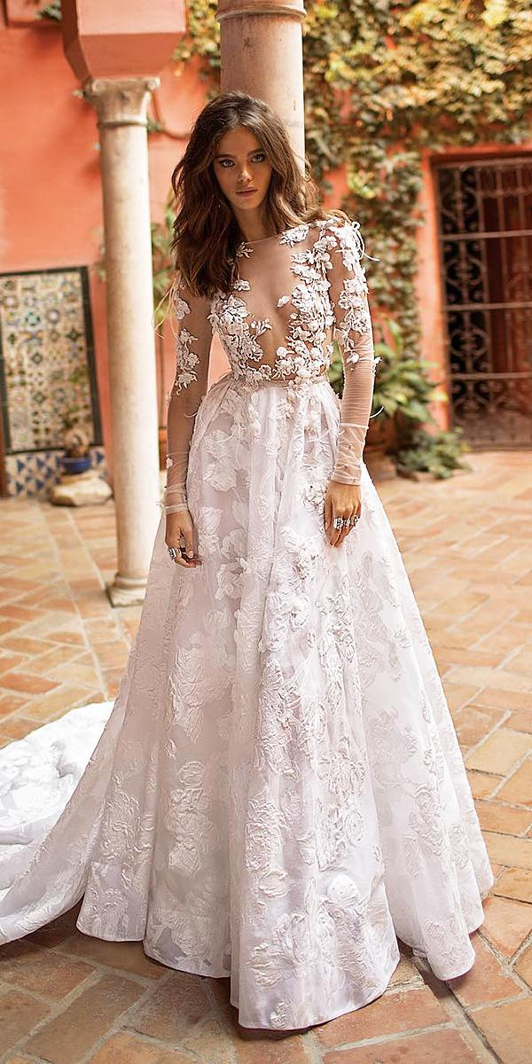 a-line wedding dresses with long sleeves illusion neckline 3d floral sexy berta bridal