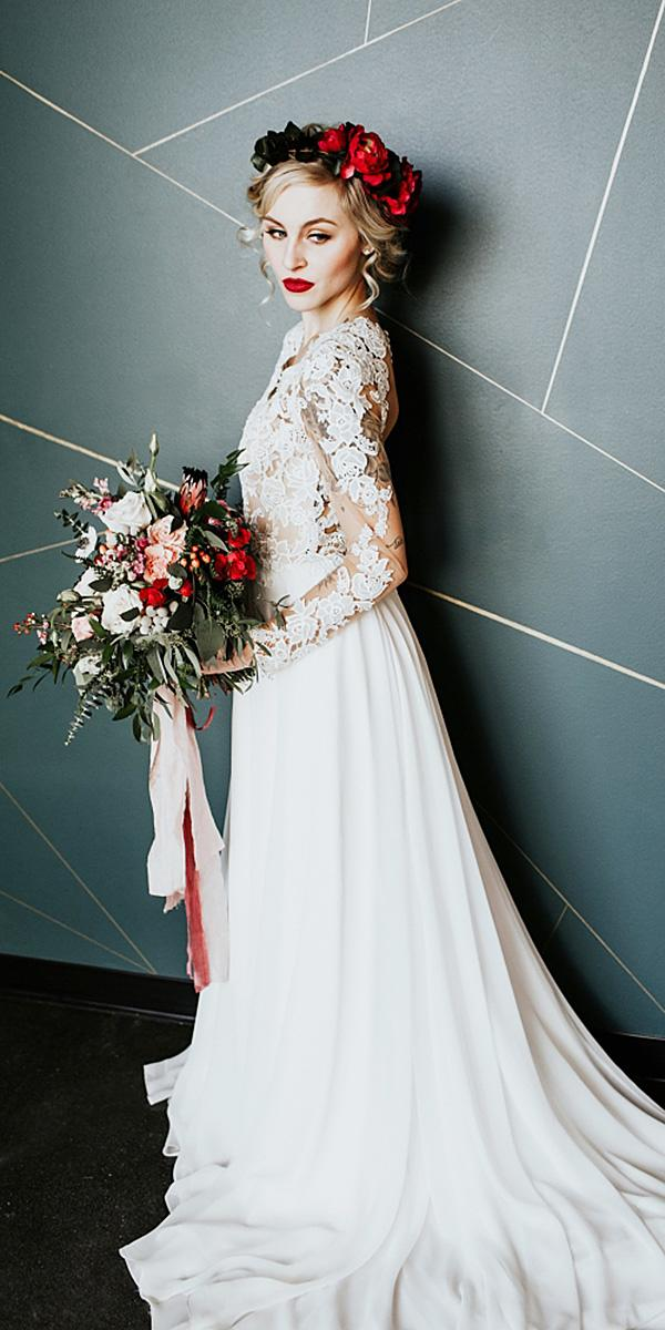 a line wedding dresses with long sleeves lace romantic alex lasota