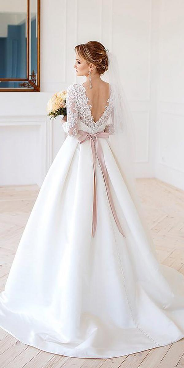 a line wedding dresses with long sleeves v back lace bow lanovia penza