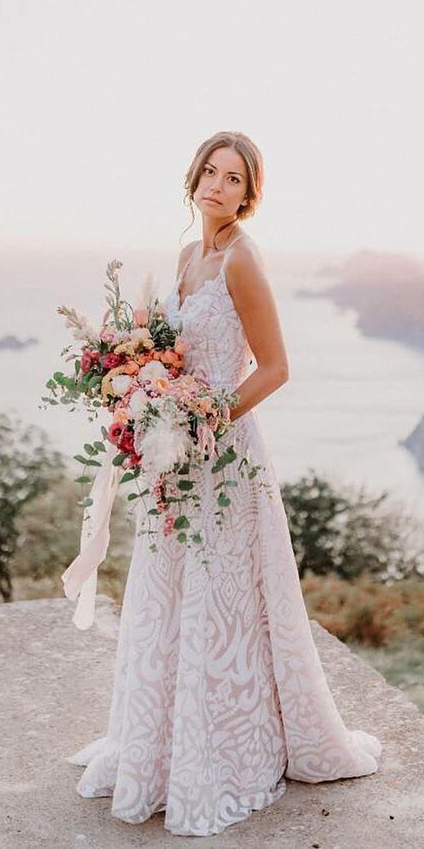 a line wedding dresses with spaghetti straps beach magnolia rouge