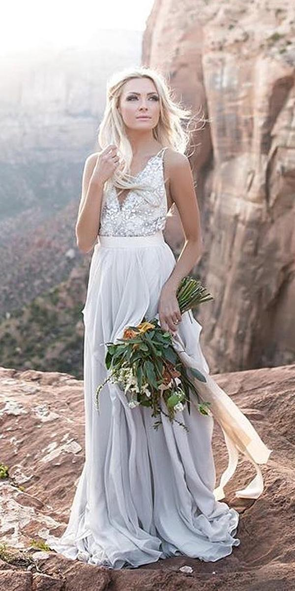 a line wedding dresses with spaghetti straps plunging neckline beaded top truvelle