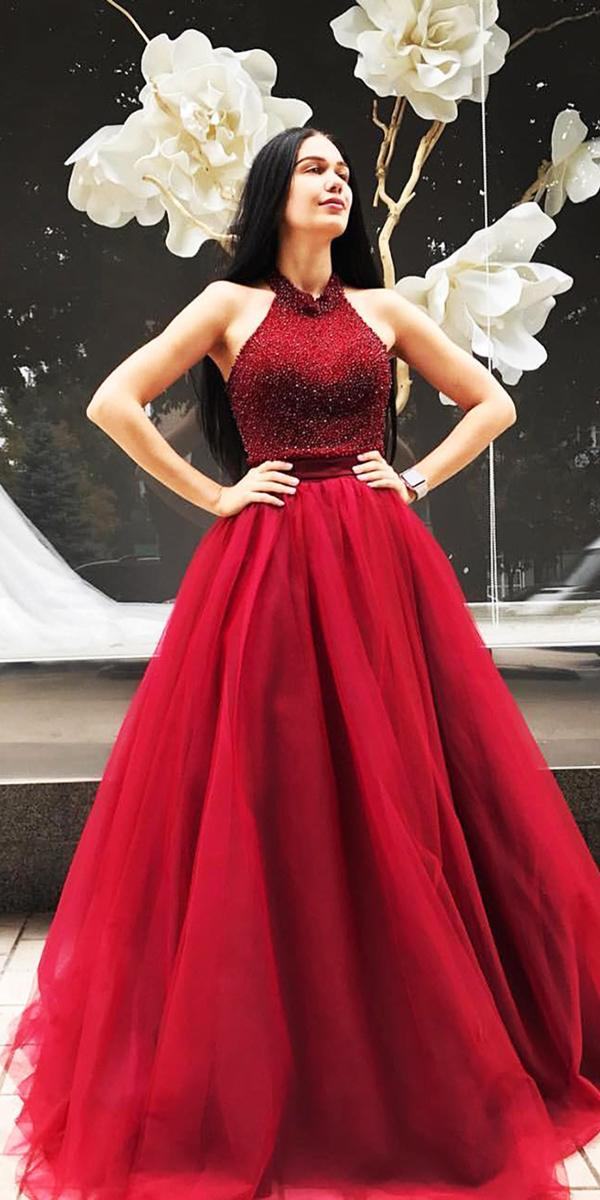blood red wedding dresses a line halter seqiuins tulle skirt jovani fashions