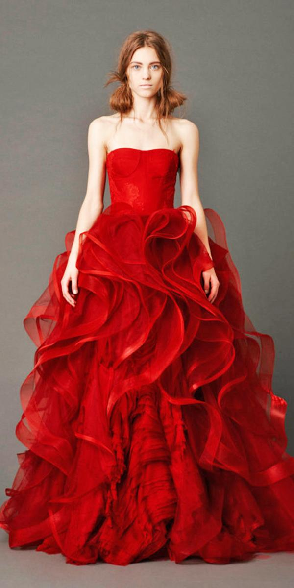 blood red wedding dresses a line straight across ruffled skirt vera vong