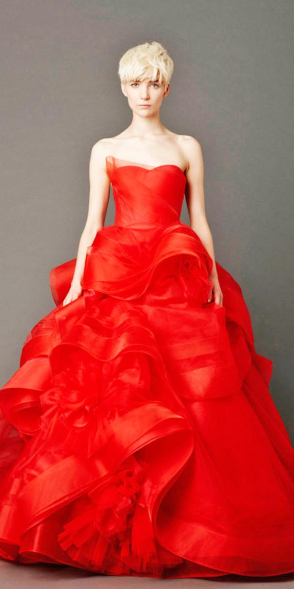 blood red wedding dresses a line sweetheart ruffled tulle skirt vera vong