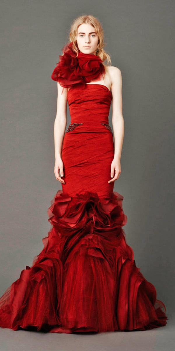 blood red wedding dresses mermaid straight accross vera vong