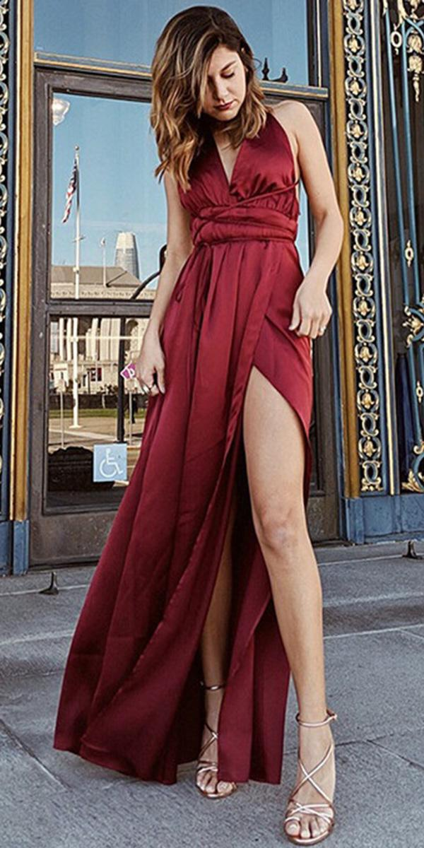cheap bridesmaid dresses long burgundy with slit under 50 us shein