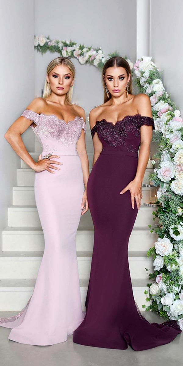 cheap bridesmaid dresses long off the shoulder sequins burgundy pink doll house