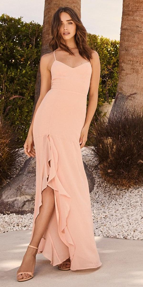 cheap bridesmaid dresses long with spaghetti straps with slit pastel color lulus