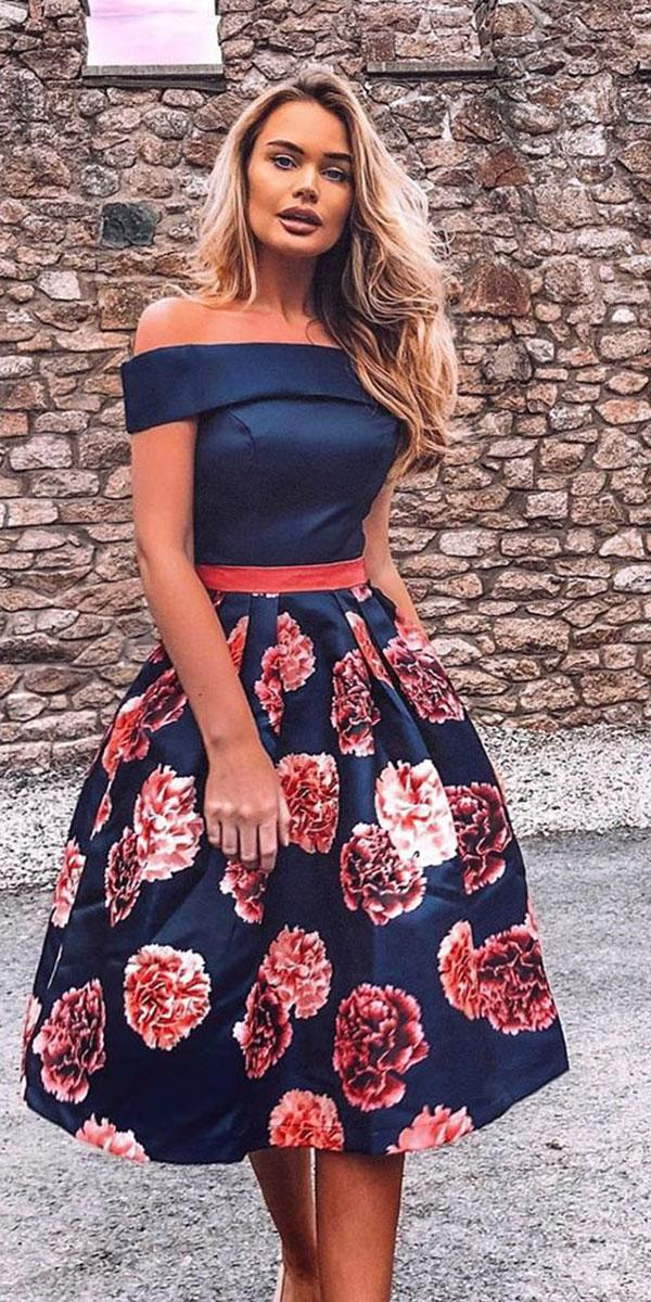 cheap bridesmaid dresses short off the shoulder floral print under 100 chi chi clothing