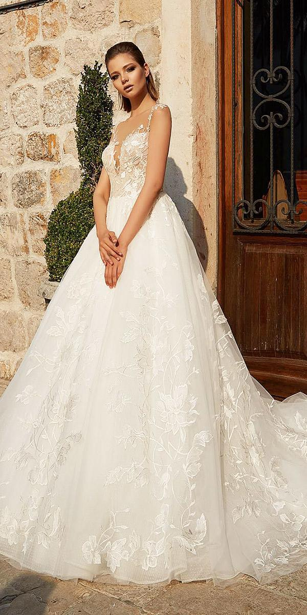 a line wedding dresses illusion neckline sweetheart armonia