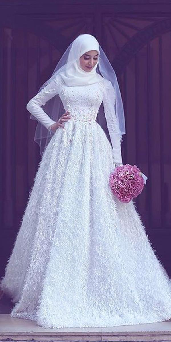 18 of the most exclusive muslim wedding dresses wedding dresses guide muslim wedding dresses a line with long sleeves fringe white hamasat photography junglespirit Gallery