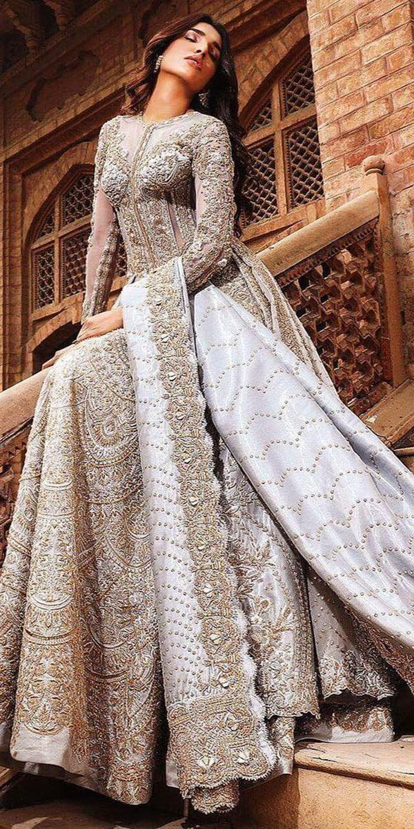 muslim wedding dresses a line with long sleeves gold embellishment modern desi couture