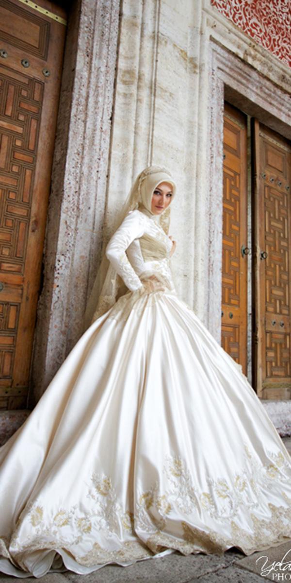 muslim wedding dresses ball gown with long sleeves hijab bride yelda calımlı photography