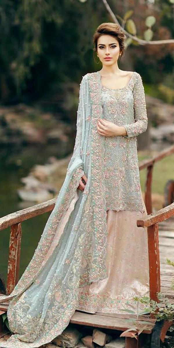 muslim wedding dresses beaded colored lehenga pakistani couture
