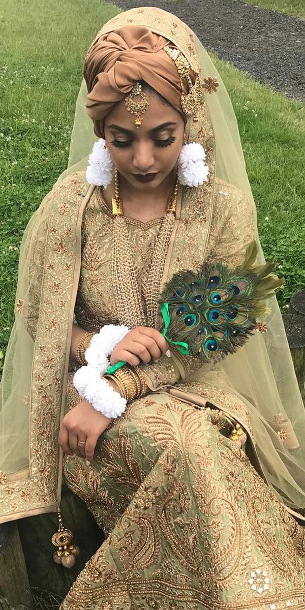 muslim wedding dresses gold hijab embellishment humaira waza