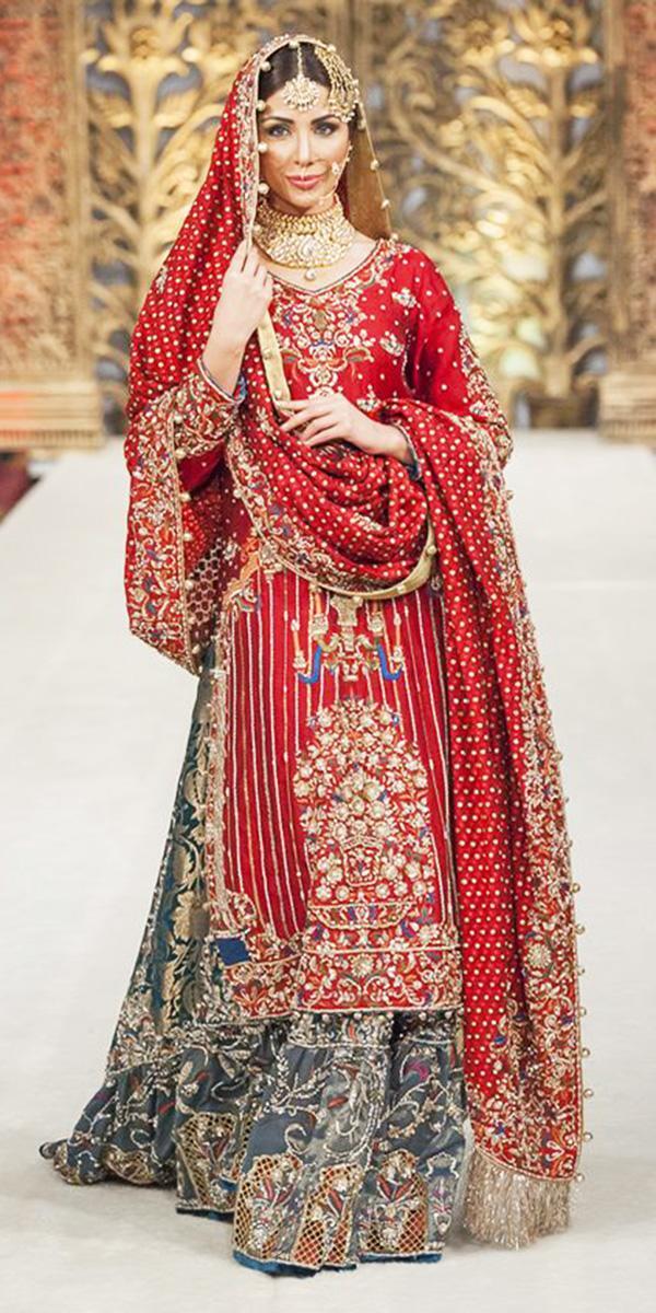 muslim wedding dresses red with gold lehenga rana noman