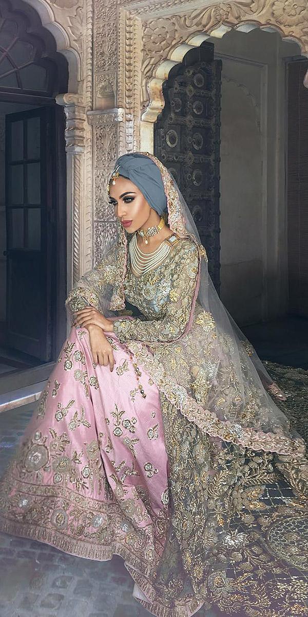 muslim wedding dresses traditional lehenga gold embellishment humaira waza