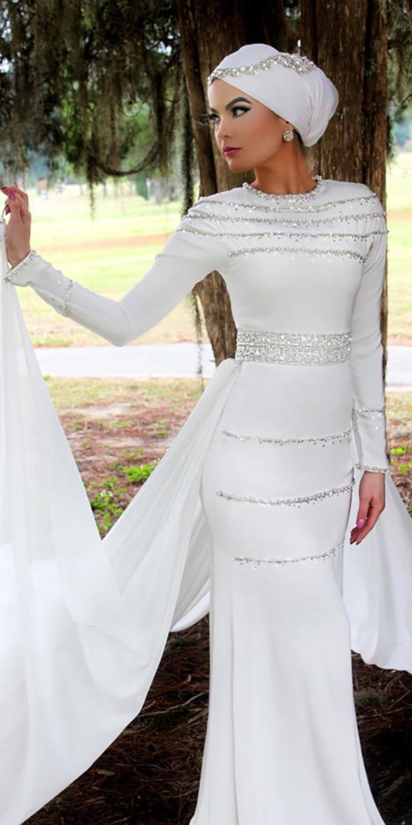 muslim wedding dresses with long sleeves white beaded modern yaz the spaz