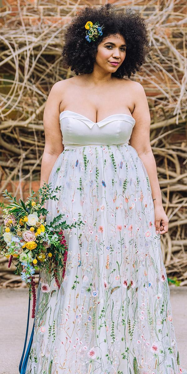 plus size wedding dresses a line sweetheart strapless floral appliques louise rose couture