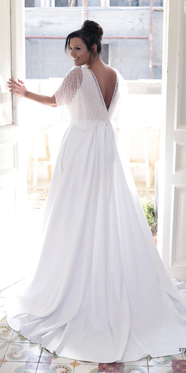 plus size wedding dresses a line v back simple sleveless levana