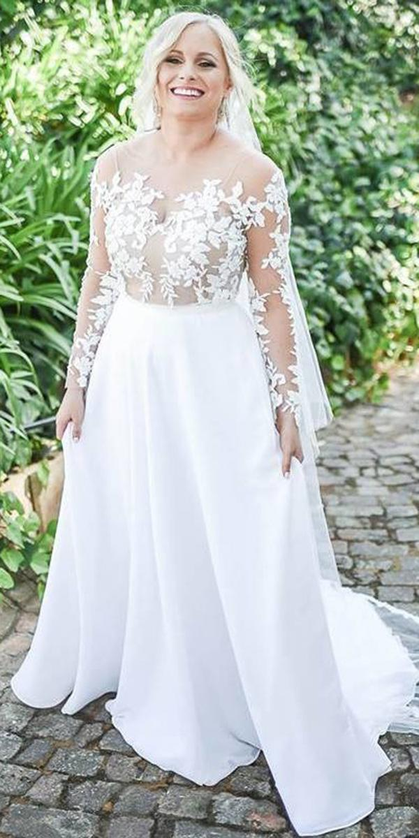 plus size wedding dresses a line with illusion long sleeve lace for full size elbeth gillis