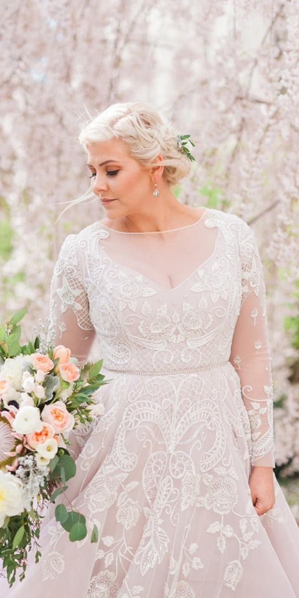 plus size wedding dresses a line with long sleeves full lace illusion neckline
