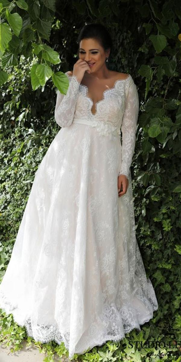 plus size wedding dresses a line with long sleeves v neckline lace studio levana