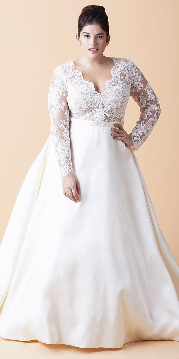 plus size wedding dresses a line with long sleeves v neckline lace top anne barge