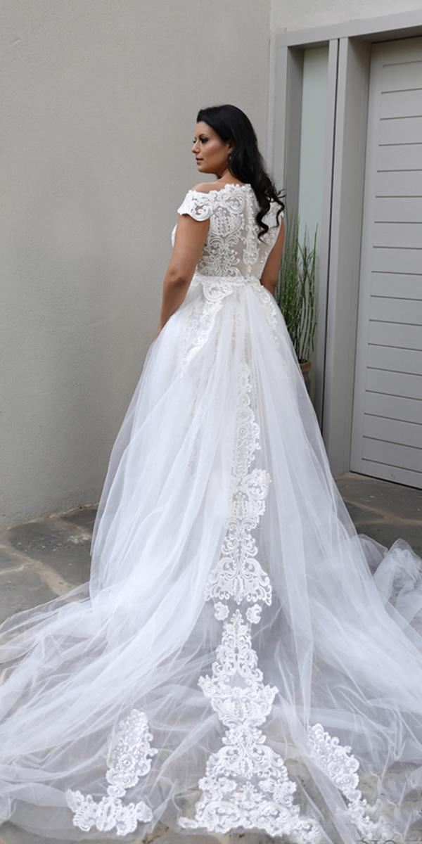 plus size wedding dresses ball gown lace back with train studio levana