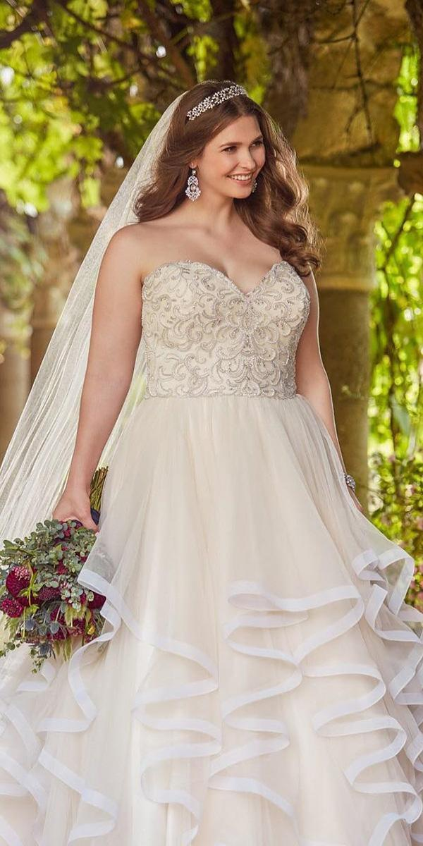 plus size wedding dresses ball gown sweetheart beaded ruffled skirt essense of australia