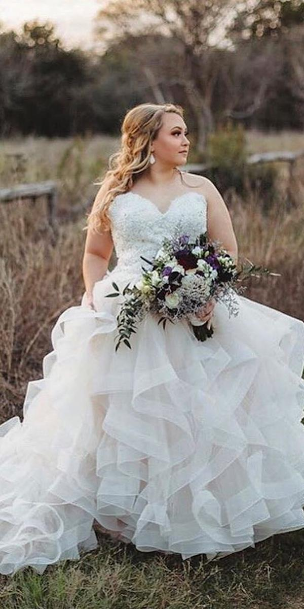 plus size wedding dresses ball gown sweetheart strapless ruffled skirt mori lee
