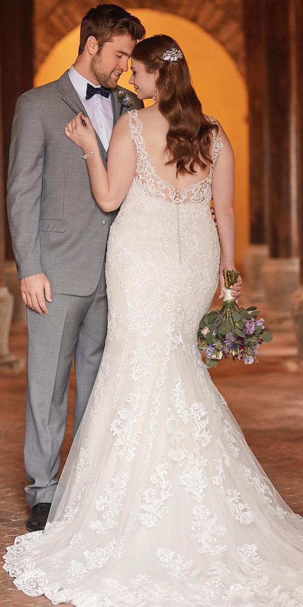 plus size wedding dresses mermaid open back full lace for beach essense of australia