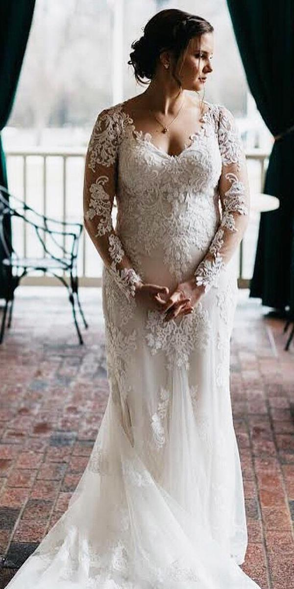 plus size wedding dresses sheath with long sleeves full lace sincerity bridal