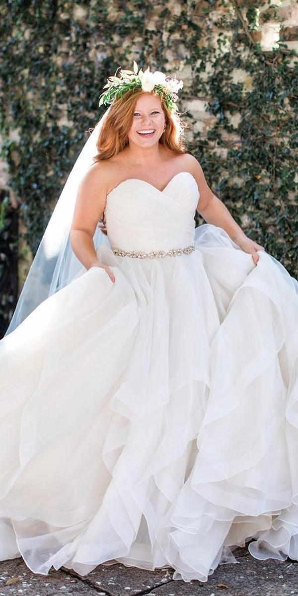 plus size wedding dresses simple ball gown sweetheart strapless beaded belt mori lee